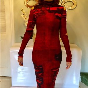 ASOS Dresses - Asos sexy red & black midi bodycon dress size 6